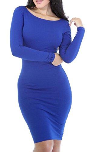 Vestito Blu Solido Girocollo Matita Dalla Donne Manica Lunga Vestito Reale Comodo 5xHaUT