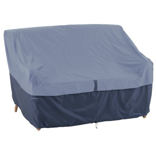 Classic Accessories 55-287-015501-00 Belltown Outdoor Patio Sofa/Loveseat Cover, Blue, Medium (Blue Outdoor Furniture Covers)