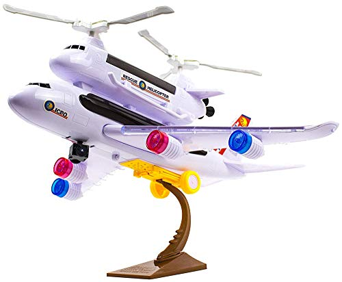 PowerTRC Bump and Go Toy Airplane for Kids with Attachable Rescue Helicopter, Has Flashing 4D Lights and Sound | Police Airplane Model | Self Driving with The Bump and Go Technology
