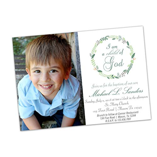 Child of God Boy Photo Baptism Invitations Communion - Photo Baptism Invitation