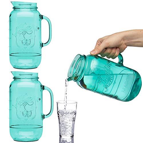 Aladdin (3 Pack) Mason Jar Plastic Drink Pitcher 2.5 Quart Water Carafe Set For Serving Juice Iced Tea Lemonade Juice Beverage