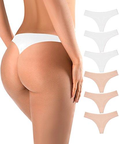 BUBBLELIME Sports Thong Womens Comfort Devotion Nylon Spandex Thong Panty,3 Pack White 3 Pack Skin,Medium