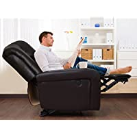 FIBONACCI Bonded Leather Classic Tufted Motorized Power Recliner - Dark Brown