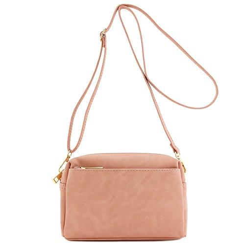 Triple Zip Small Crossbody Bag (Dusty Pink)