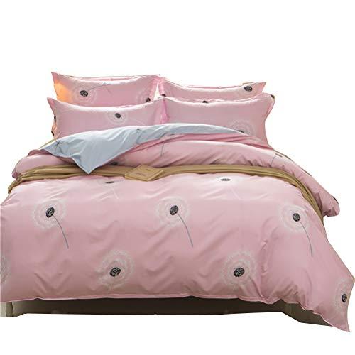 Uozzi Bedding 3 Piece Pink Duvet Cover Set (1 Duvet Cover + 2 Pillow Shams) with Dandelion, 800 - TC Luxury Hypoallergenic, Zipper Closure, 4 Corner Ties Christmas/New Year Gift ()
