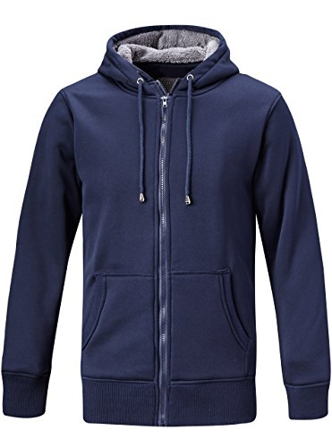 ZITY Men's Heavyweight Hooded Sweatshirt Front-Zip Fleece Hoodie with Split Kangaroo Pocket