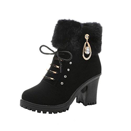 Colorful TM Fashion Women's Winter Warm Boots Martin High Heels Platform Boots Shoes Black