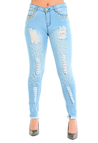 Be Jealous Womens Ladies Pocket Studded Faded Frayed Ripped Destroyed Skinny Denim Jeans Studded Pocket Dress