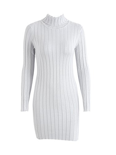 Simplee Women 's Casual manga larga Pullover Sweater de punto cuello delgado vestido Jumper Gris