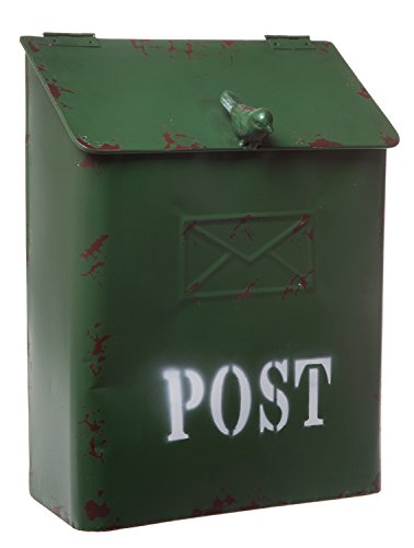 - Country Cottage Green Metal Bird Post Mailbox - Rustic Style Décor, Small