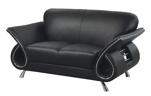 (Global Furniture Clark Collection Leather Matching Love Seat, Black)
