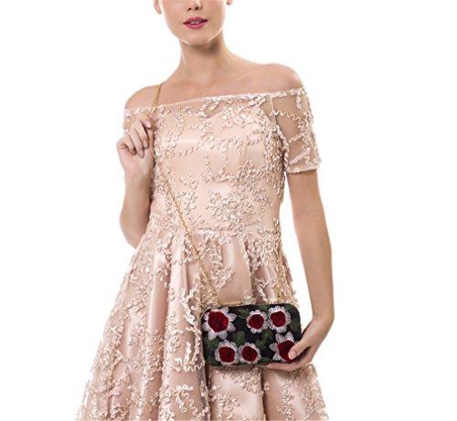 3D delle di del donne delle borse Rhinestones fiore nuziale delle rose Sacchetto dell'annata di delle cerimonia delle del Sacchetto del rose fiore donne ricamo YM1226silver di spalla sera del piccole fHdZI