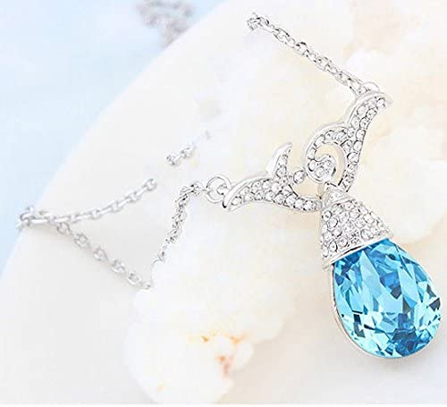 Noble Swarovski Elements Crystal Navy Blue Waterdrop with Flower Pendant Rhodium Plated Chain Necklace