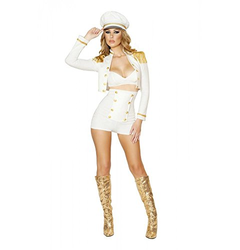 Roma Costume Women's 3 Piece Sultry Sailor Babe, White, Medium
