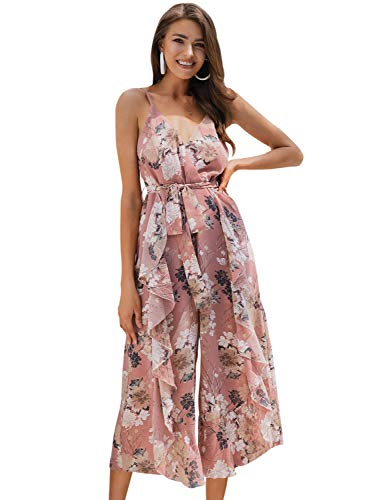 Miessial Women's Floral Spaghetti Strap Chiffon Jumpsuit Backless Wide Leg Pants Summer Rompers Pink 4/6