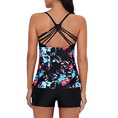 Century Star Tankini Swimsuits for Women Retro Bathing Suits Two Pieces Modest Swimming Wear Sports Tank Tops with Boyshorts: Clothing