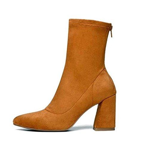 Heels Mode Stiefel High Khaki Schuhe Zeigte Neue Lederstiefel xzwWqOzCH
