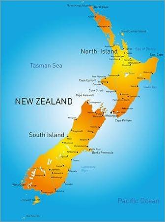 Poster 30 X 40 Cm Neuseeland Landkarte Von Editors Choice