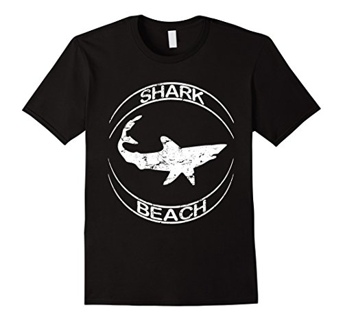 Mens Shark Beach Distressed Vintage Look Shark T Shirt 3XL Black