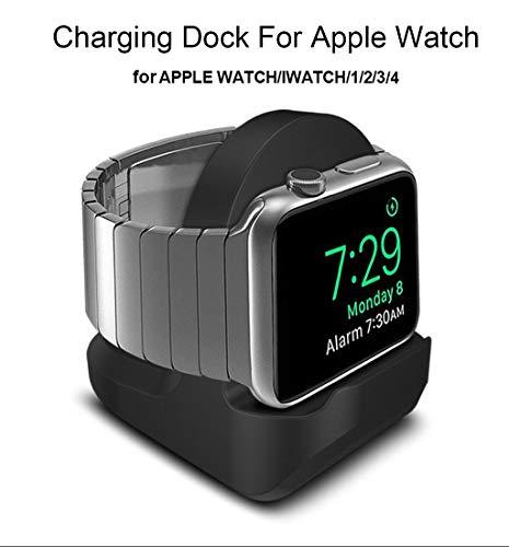 (Cywulin Charging Dock Stand Compatible for Apple Watch Series 4, Series 3, Series 2, Series 1, Compact Charger Holder Cradle Bracket Station Portable Designed for iWatch 44mm 42mm 40mm 38mm (Black))