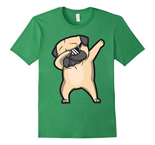 Funny Dog Shirt (Mens Dabbing Pug Shirt - Cute Funny Dog Dab T-Shirt Medium Grass)