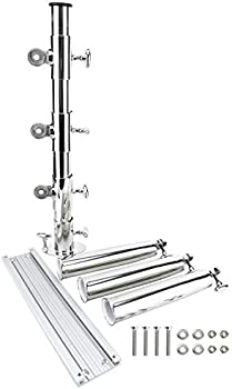Heavy Duty Three Rod Holders with Base fits 3 Track System Stainless Steel 316 DasMarine Adjustable Vertical Bird Tree 3 Fishing Rod Holder