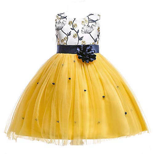AIMJCHLD Girls Flower Dresses Pageant Prom Formal Bridesmaid Party Dress (Yellow 120)