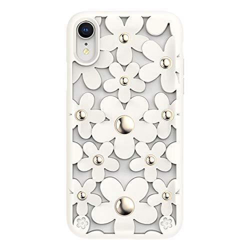 侵略こどもの宮殿夏iPhone XR ケース 花柄 3D 立体 TPU シンプル デザイン 耐衝撃 衝撃 吸収 ハード カバー SwitchEasy Fleur [ Apple iPhoneXR アイホンXR アイフォンXR ] ホワイト