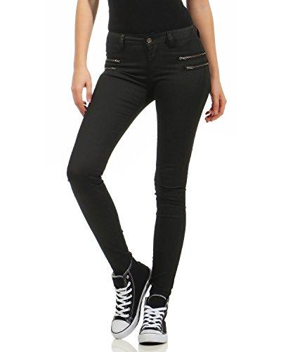 ZARMEXX dames imitation pantalon en cuir Jeans Jeans Jeans Skinny jeans taille basse en cuir dames regardent maigre Noir