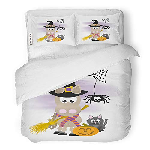 (Emvency 3 Piece Duvet Cover Set Brushed Microfiber Fabric Breathable Cartoon Horse Celebrating Halloween Wearing Witch Hat and Striped Scarf Holding Bedding Set with 2 Pillow Covers Twin)