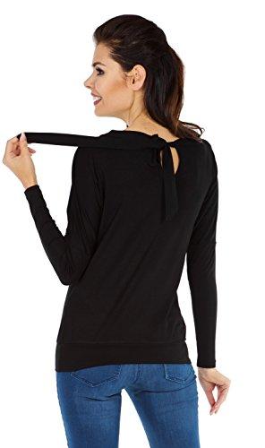Zeta Ville Premamá - Camiseta de lactancia efecto 2 en 1 - para mujer - 010c Negro