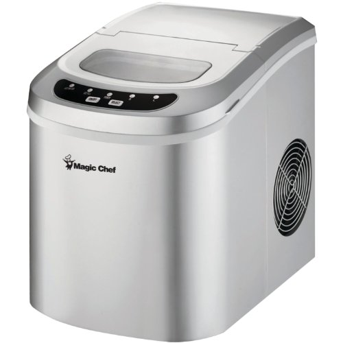 Magic Chef MCIM22SV 27-Lb. Portable Silver Countertop Ice Maker,