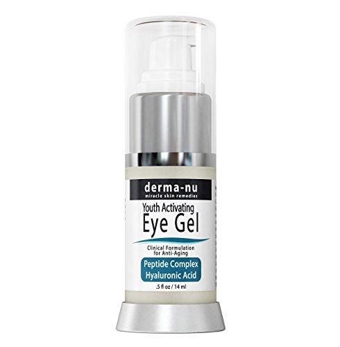 Augen Faltencreme von Derma-nu - Antialterung Eye Gel Behandlung für dunkle Augenringe, Schwellungen und Fältchen - Peptid Kollagen Gebäude Formel - Hyaluronsäure & Aminosäure - .5oz