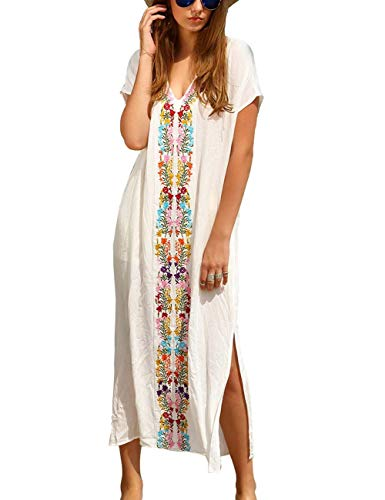 - Women Long Robe Swimsuit Turkish Lace Trim V Neck Floral Crochet Kaftan Beach Dress White (B-White)