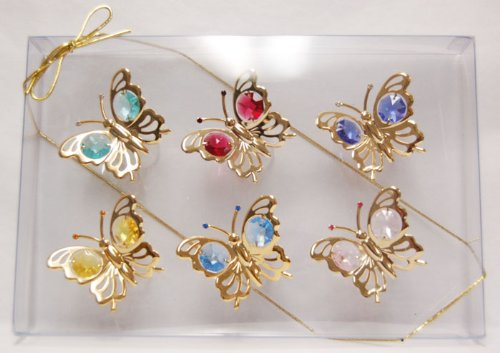 24k Gold Plated Butterfly Suncatcher Gift Set with Swarovski Austrian Crystals (Set of 6)