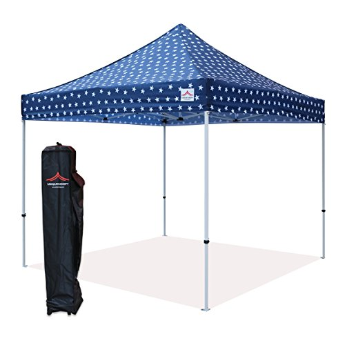 UNIQUECANOPY 300D Classic 10x10 Ez Pop up Canopy Instant Tent Outdoor Party Portable Folded Commercial shelter, with Wheeled Carrying Bag Steel Navy Blue Star