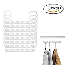 Portable 8 Pcs Space Saving Magic Trousers Clothes Hanger Clothes Organizer,Space Saving Closet Clothing Storage Rack Blouse Towel Shirt Suit Pant or Necktie Hanger -White