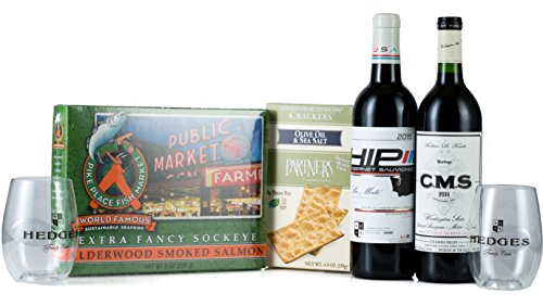 Hedges Family Estate Columbia Valley Picnic Gift Set with Pike Place Smoked Salmon, Partners Crackers, 2 Go Vino glasses, 2 X 750 mL