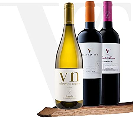 Lote Vino 3 Botellas - Valtravieso | 1 Valtravieso Nogara Rueda Vino Blanco D.O. + 1 Valtravieso Crianza D.O. Vino Tinto + 1 Finca Santa María Roble Vino Tinto Ribera del Duero D.O.