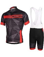 Skysper Fietsshirt voor heren, korte mouwen en fietsbroek met 3D-gel gevoerd, ademend, fietsshirt voor MTB-fiets, sneldrogend, set fietsshirt maat M-XXL