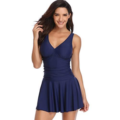 iYBUIA Women Solid Flare Dress Beach Suit Pleated Tankini Swimwear Plus Size Navy