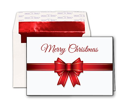 Christmas Present Bow Holiday Cards - 20 Greeting Cards and Red Foil Lined Peel & Seal Envelopes