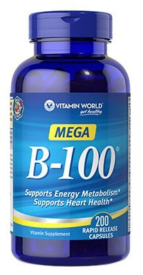 Vitamin World Mega B-100 Supports Energy Metabolism Supports Heart Health 200 Rapid Release Capsules by Vitamin World