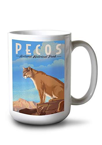 (Lantern Press Pecos National Historical Park - Mountain Lion - Lithograph (15oz White Ceramic Mug))