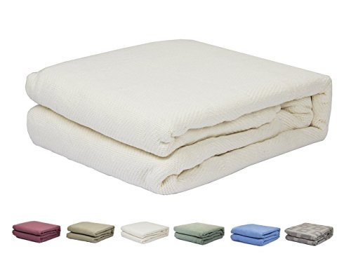 Softening Thermal - HomeLux Ivory Color Pure 100% Cotton Thermal Hospital/Home Blanket - Twin Size