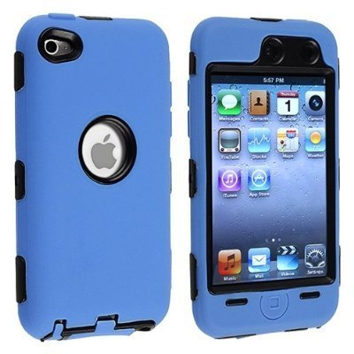Importer520 Black Hard / Blue Skin Hybrid Case Cover compatible with Apple iPod Touch 4G, 4th Generation, 4th Gen 8GB / 32GB / (Ipod 8gb 4th Gen)