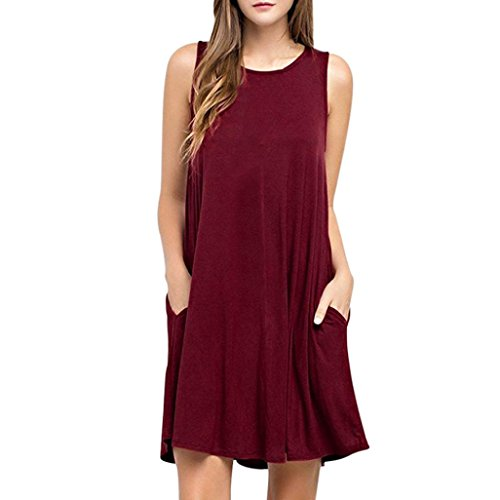 Forthery Women's Casual Plain Simple Pocket T-shirt Loose Dress (XL, Red)