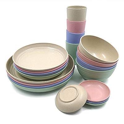 20-teiliges Geschirr-Set aus Weizenstroh, leichte Teller, Schüsseln, Tassen, Geschirr-Set, unzerbrechliches Geschirr-Set…