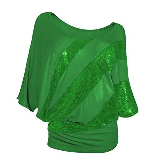 paule Vert Courte Chemise Froide Chic Top Chemise Shirt Blouse Taille Manche Challeng T Casual Sequin Femme Femme la Plus Femmes HSqqvn