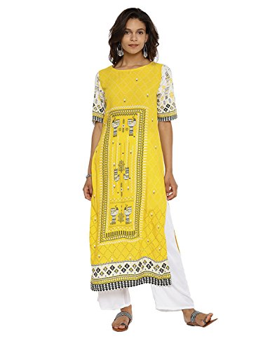 Aaboli Rayon Designer A-Line Kurta for Women Elbow Sleeve Long Dress Printed Tunic Casual Kurti for Women Ladies Partywear